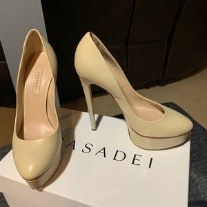 Casadei Leather Platform Pumps
